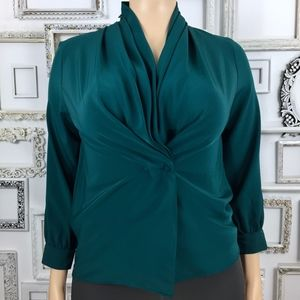 Vintage Shawl Collar Blouse in Dark Teal